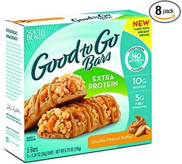 South Beach Diet Good To Go Bars, Extra Protein, Double Peanut Butter, 1.34 Ounce, 5 Count (Pack of 8)