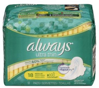 $2.88 Always Ultra Thin Unscented Pads with Wings, Regular, 18 Count