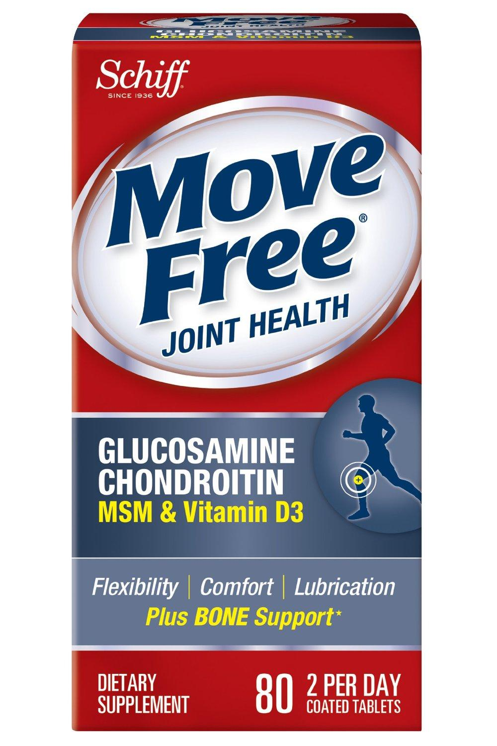 Move Free Joint Health Advanced Plus MSM & Vitamin D3 with Glucosamine+Chondroitin -Plus Extra Bone Support, 80 tablets