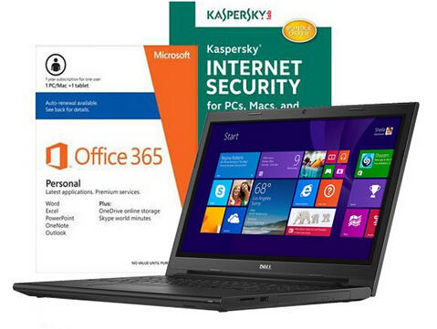 $349.99 Dell Inspiron I3543-5752BLK Laptop, Internet Security Software & Microsoft Office Package