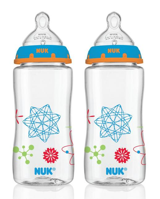 $9.87 NUK Advanced Orthodontic Bottles with Silicone Nipple, Blue, 10 Ounce (Colors and Patterns May Vary), 2 Count