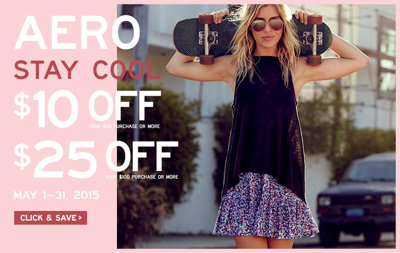 $10 Off $50 or $25 Off $100 Printable Coupon @ AERO Stores