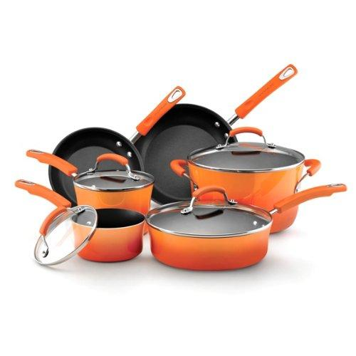 Rachael Ray Hard Enamel Nonstick 10-Piece Cookware Set, Orange Gradient @ Amazon.com
