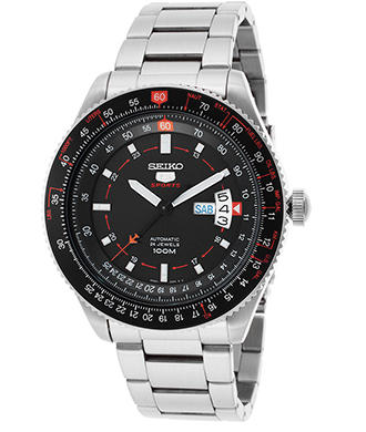Seiko Men's Pilot Automatic Stainless Steel Black Dial Red Accent Watch, SRP613K1