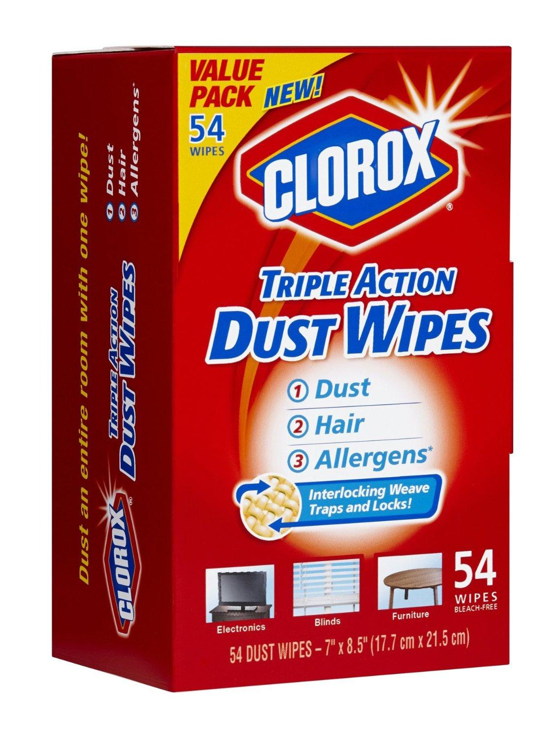 $5.37 Clorox Triple Action Dust Wipes, 54 Count Box (Pack of 2)