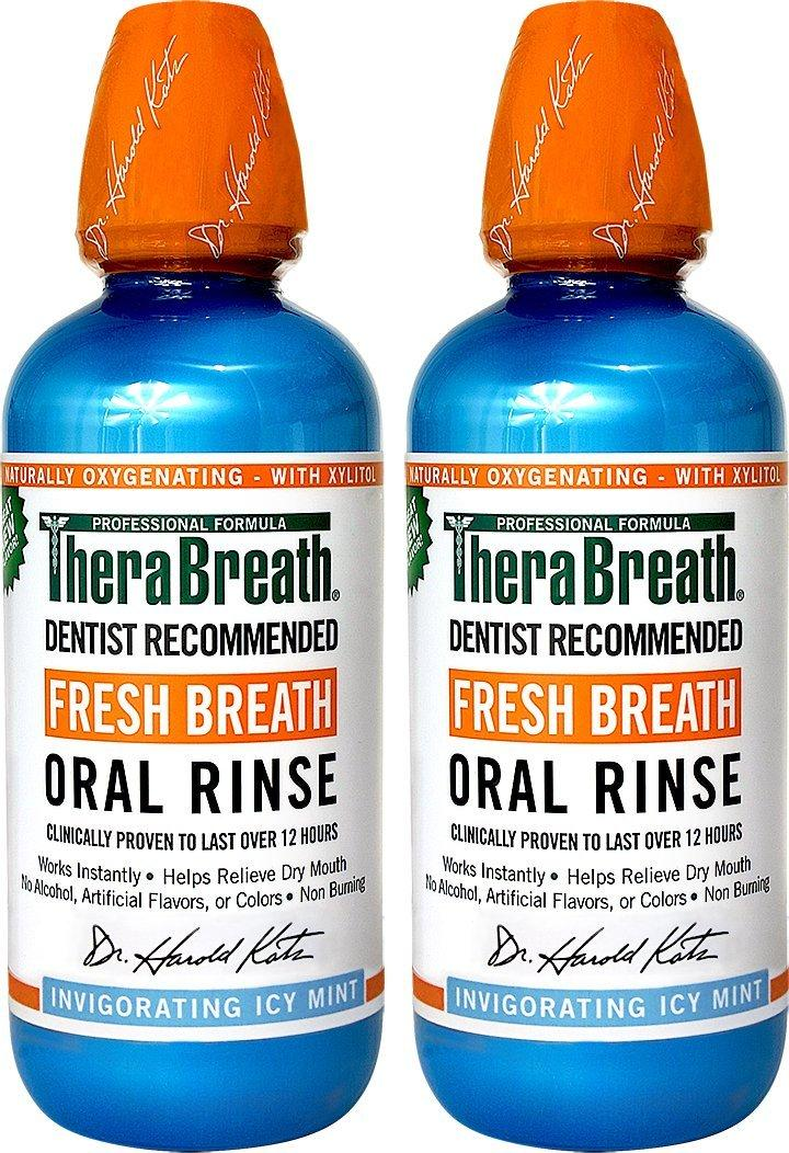 $9.49 TheraBreath Dentist Recommended Fresh Breath Oral Rinse -  Icy Mint Flavor 16 Ounce (Pack of 2)