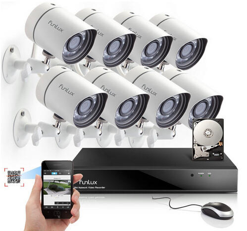 $429.99 Funlux 8CH NVR 720P HD Night Vision IP Surveillance Camera Kit CCTV Security Camera System