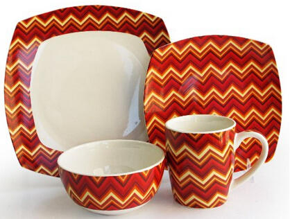 $29.99 American Atelier Zigzag Porcelain Dinnerware 16-Piece Set (Red or Green)