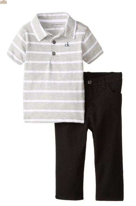 A Calvin Klein Baby-Boys Infant Gray Polo with Blue Pants