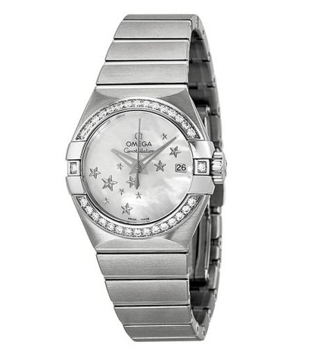 $4595 Omega Constellation Automatic Diamond Mother of Pearl Dial Ladies Watch, 123.15.27.20.05.001