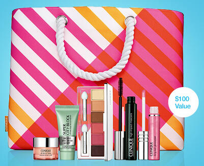 $34.50 ($100 Value) Summer Beach Tote and Makeup Kit with Any Purchase @ Clinique