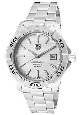 Tag Heuer Men's Aquaracer Automatic Stainless Steel Silver-Tone Dial Watch, WAP2011-BA0830