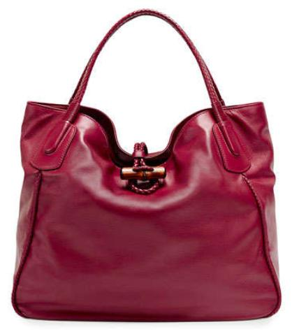 $1980 Gucci Hip Bamboo Leather Tote Bag, Dark Red
