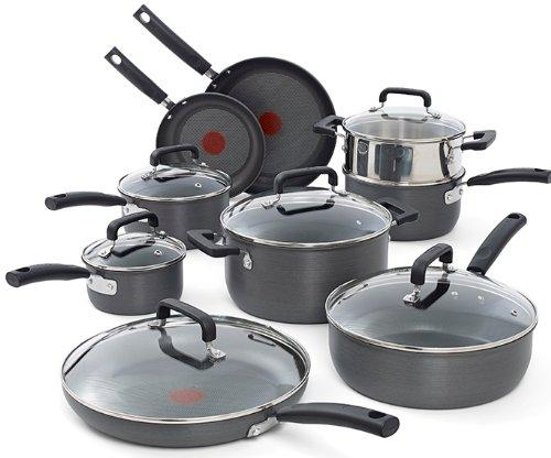 $144.99 T-fal C770SF Signature Hard Anodized Nonstick Thermo-Spot Heat Indicator Cookware Set, 15-Piece