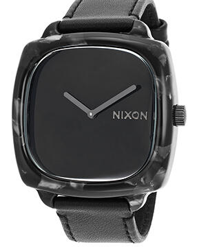 Nixon Women's Shutter Black Genuine Leather and Dial Marbled Black Case Watch A1671040-00