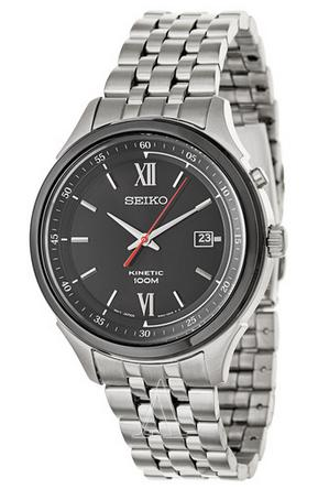 $88 Seiko Kinetic Black Dial Stainless Steel Mens Watch SKA659