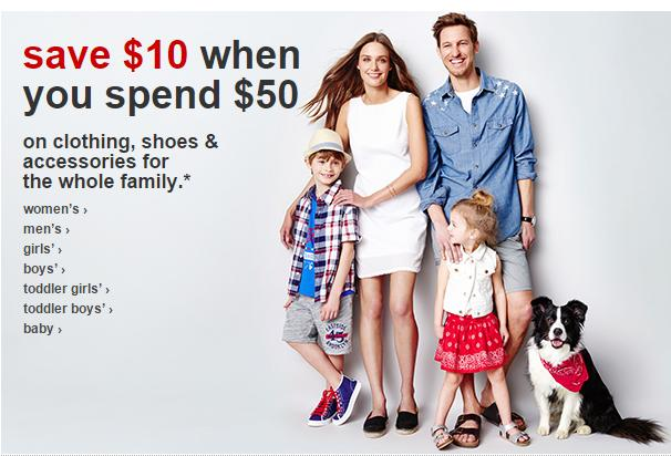 Save $10 When You Spend $50 Family Clothing Sale @ Target