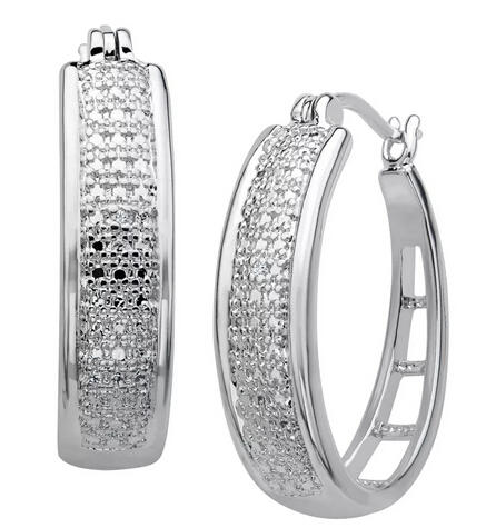 Hoop Earrings with Diamonds in Sterling Silver Plate Only $19 Plus Free Shipping