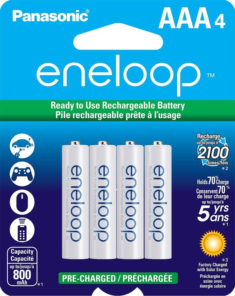 Panasonic BK-4MCCA4BA eneloop AAA New 2100 Cycle Ni-MH Pre-Charged Rechargeable Batteries, 8 Pack