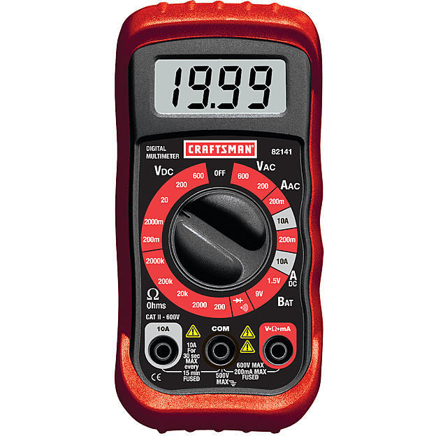 9.99 Craftsman Multimeter, Digital, with 8 Functions and 20 Ranges