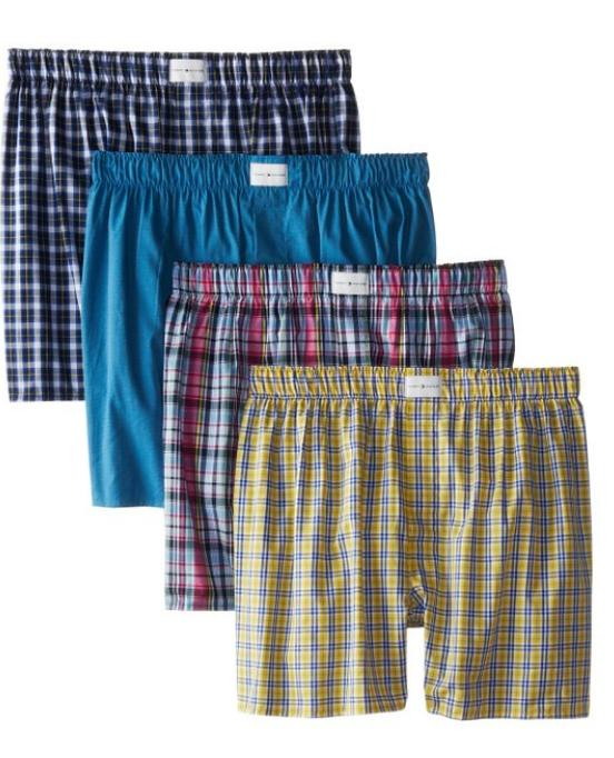 $18.16 Tommy Hilfiger Men's 4-Pack Red Blues Woven Boxer