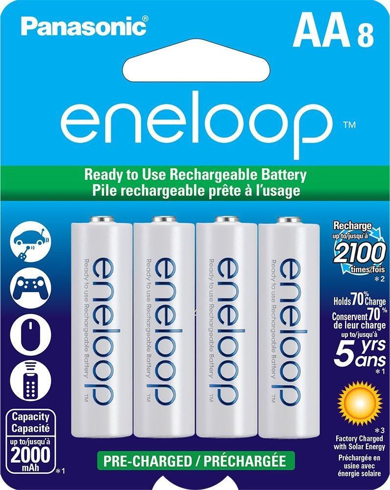 $15.99 8-Pack Panasonic Eneloop AA Pre-Charged Rechargeable Ni-MH Batteries (BK-3MCCA8BA)