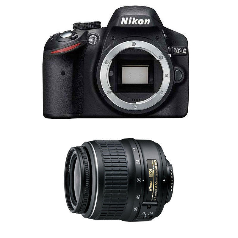 $279 Nikon D3200 24.2 MP CMOS Digital SLR Camera with 18-55mm DX Lens Refurbished
