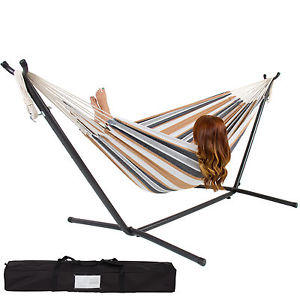 $79.9 Double Hammock With Space Saving Steel Stand Includes Portable Carrying Case