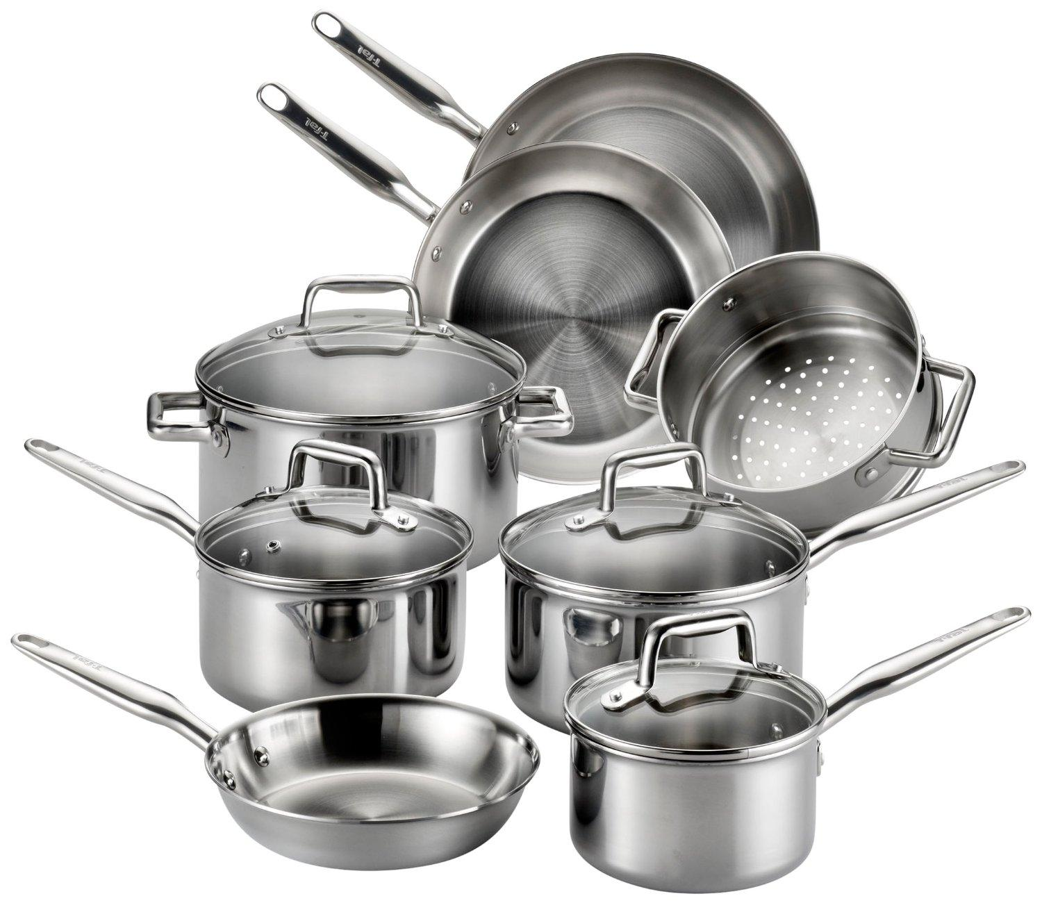 Lowest price! $106.65( reg. $349.99) T-fal Tri-Ply Stainless Steel Multiple Layer Cookware Set, 12-Piece