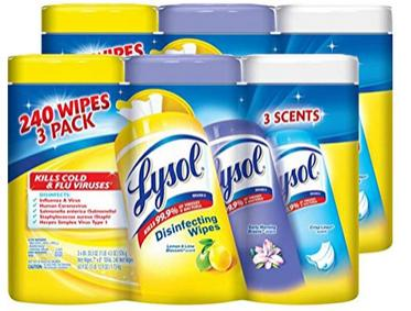 $11.92 Lysol Disinfecting Wipes Variety Value Pack, Lemon, Early Morning Breeze and Crisp Linen, 480 Count