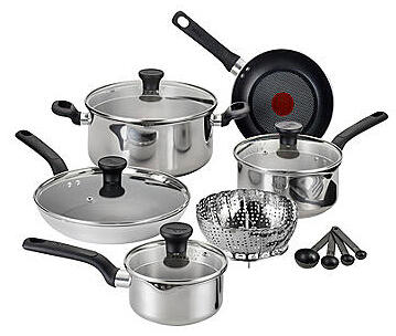 $49.97 Each Select T-fal® Excite 14-pc. Stainless Steel Nonstick Cookware Set @ Bon-Ton