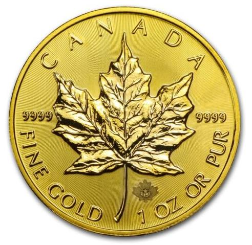 $1225.59 2015 1 oz Gold Canadian Maple Leaf Brilliant Uncirculated