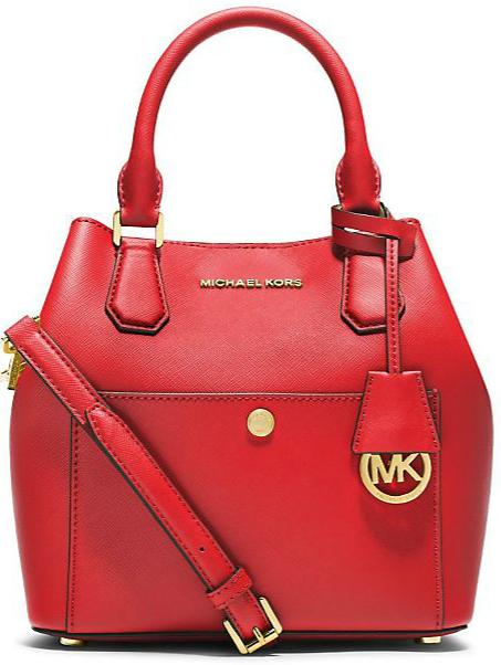 $208.6 MICHAEL MICHAEL KORS Greenwich Medium Saffiano Leather Satchel