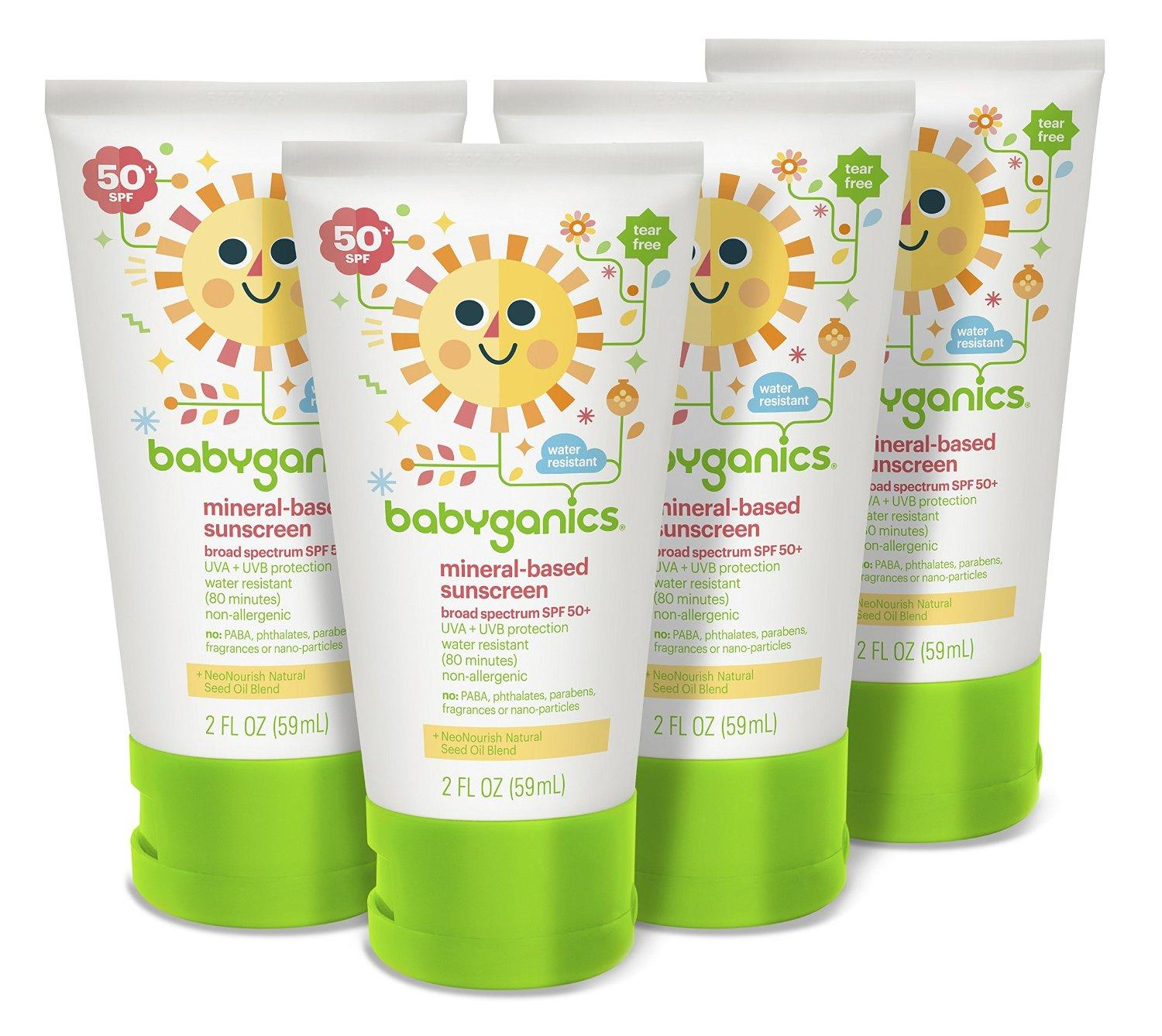 $11.97 + Free Shipping Babyganics Mineral-Based Baby Sunscreen Lotion, SPF 50, 2oz Tube (Pack of 4)