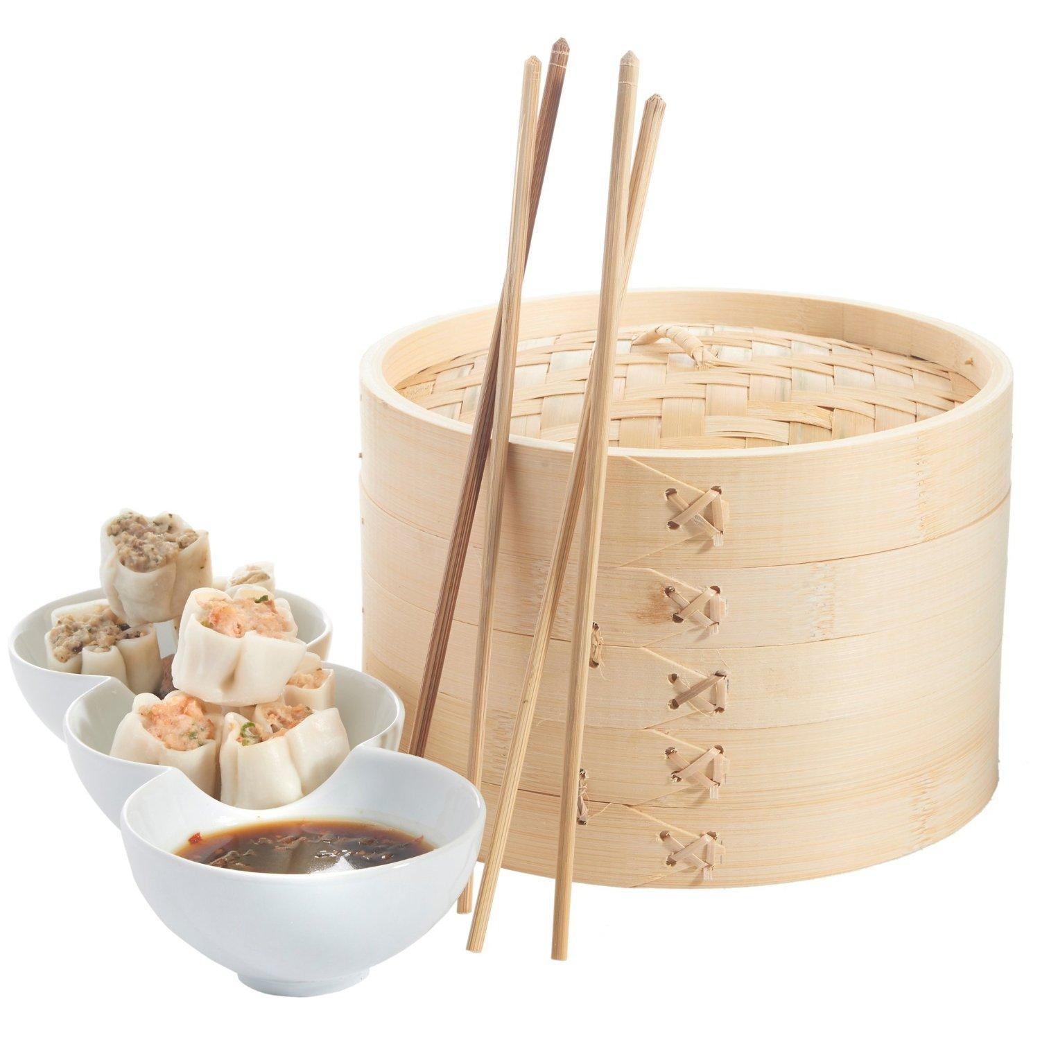 VonShef 10 Inch Bamboo Steamer Set with 2 x Free Chopsticks