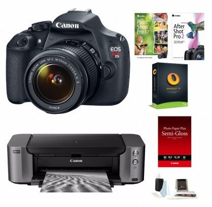 $499 Canon EOS T5 DSLR Camera with 18-55mm Lens and PIXMA PRO-10 Printer Bundle