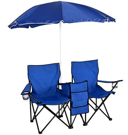 $39.99 Picnic Double Folding Chair w Umbrella Table Cooler Fold Up Beach Camping Chair