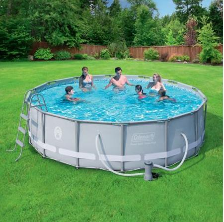 Coleman 14-Foot Power Steel Frame Above-Ground Swimming Pool Set 90337