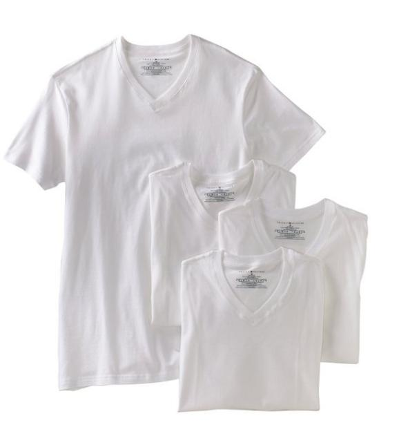 Tommy Hilfiger Men's Four-Pack V-Neck Tee Shirt