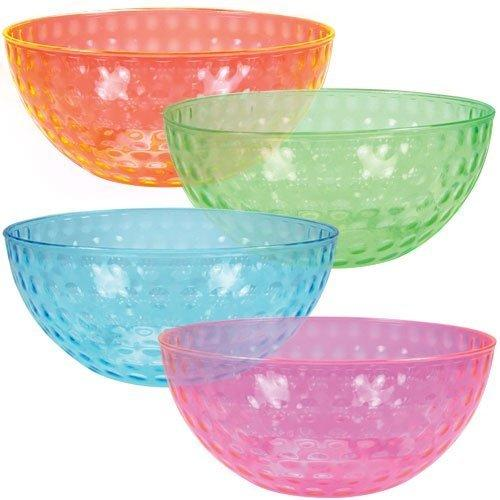 $10.2 ChefLand Round Plastic Serving Bowls, Party Snack or Salad Bowl, 96-Ounce, 4 Colors, Set of 4