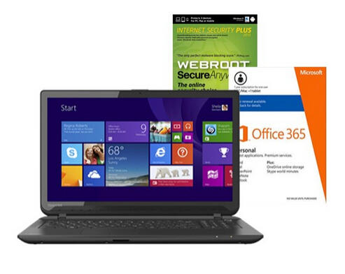 $299.99 Toshiba Satellite C55DT-B5128 Touch-Screen Laptop, Internet Security Software & Microsoft Office Package