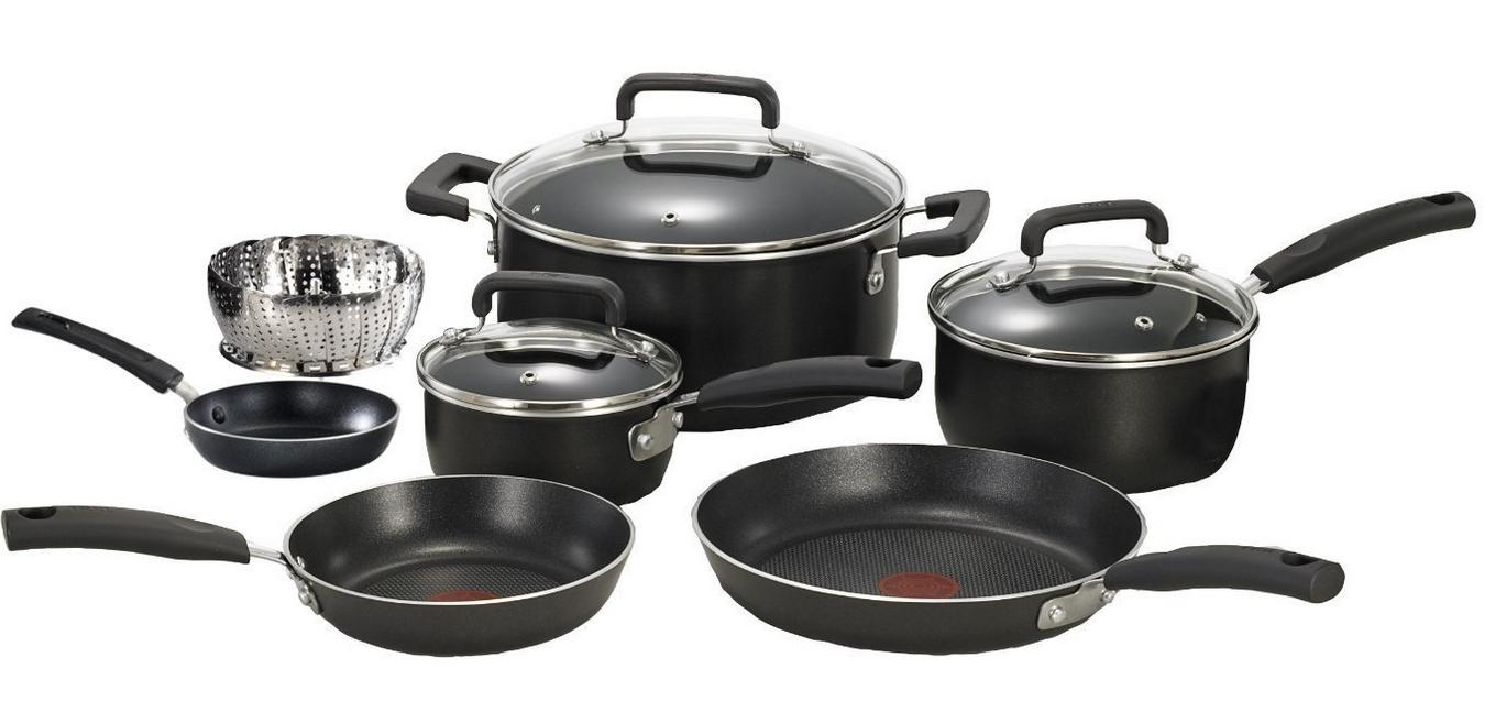 $54.90 T-fal Signature Nonstick Dishwasher and Oven Safe Thermo Spot 10-Piece