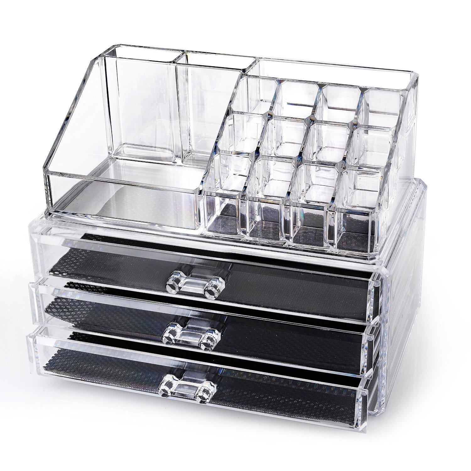 Home-it Clear acrylic makeup organizer cosmetic organizer and Large 3 Drawer Jewerly Chest