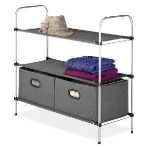 Best seller! Lowest price! Whitmor 6779-4464 Closet Organizer Collection 3 Tier Shelves with 2 Collapsible Drawers
