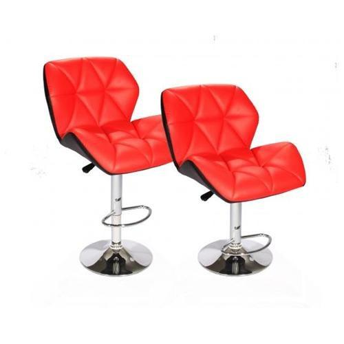 $65 Red SET of (2) Bar Stools Leather Hydraulic Swivel Dinning Chair Barstools B01