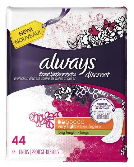 $2.74 Discreet, Incontinence Liners, Very Light, Long Length, 44 Count
