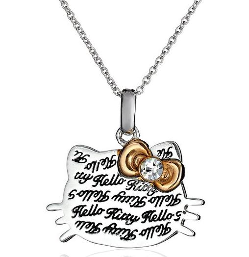 $46.53 Hello Kitty Czech Crystals Engraved Script Face Rose Gold Bow Dangle Girl's Pendant Necklace