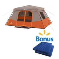 Ozark Trail 8 Person Instant Cabin Tent with 2 Queen Airbeds Value Bundle