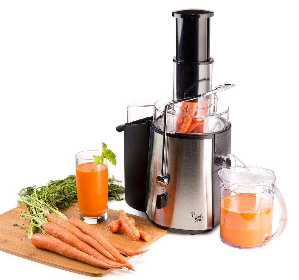 Chef's Star Juc700 Juicer Wide Mouth Fruit & Vegetable Juice Extractor - Stainless Steel