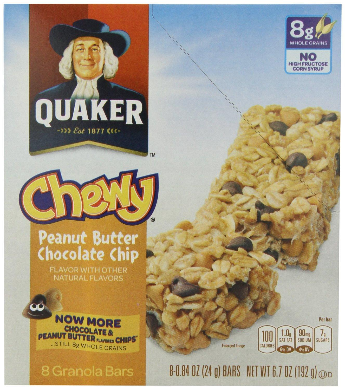 $9.12 Quaker Peanut Butter Chocolate Chip Chewy Granola Bars, 8 0.84oz Bars per Pack (Pack of 6)